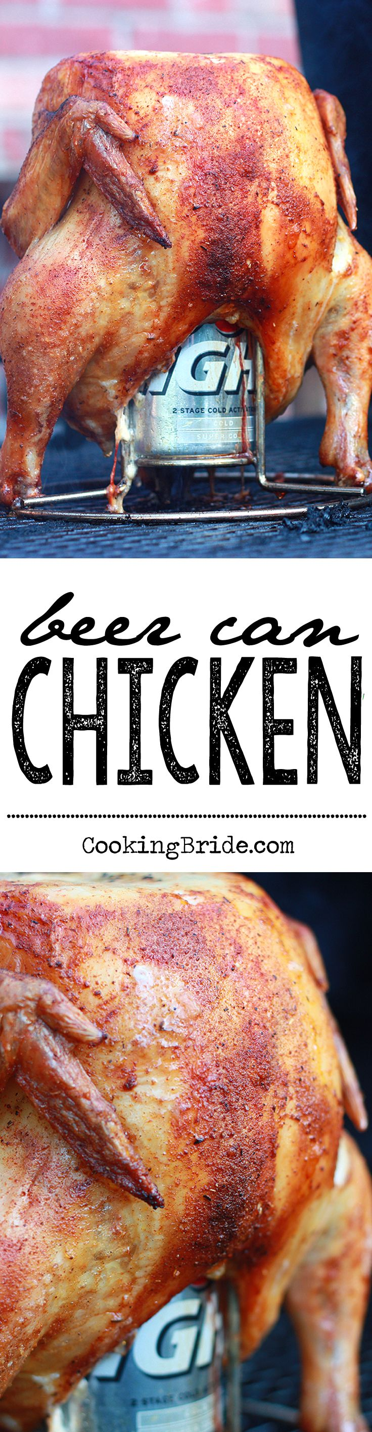 Traditional beer can chicken seasoned with a blend of Cajun-inspired herbs and spices.