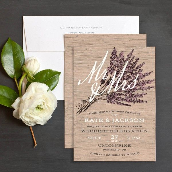 Lavender Barn Wood Wedding Invitation by Emily Crawford for Elli.com