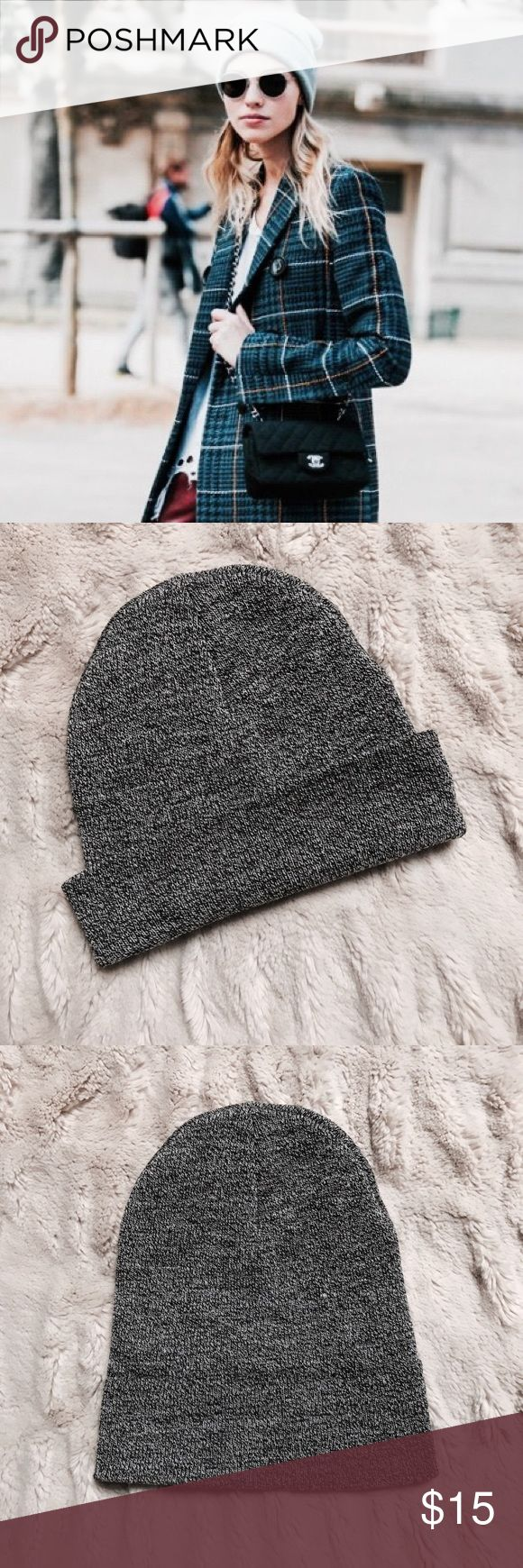 NWOT Grey Beanie New without tags - never worn. Grey beanie from Topshop. First image is to show wear. Can be worn rolled up or slouchy. Topshop Accessories Hats