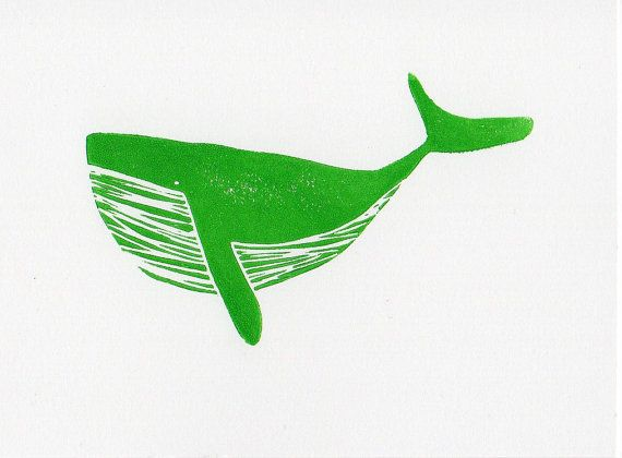 Whale linocut print 7 x 5 - this etsy shop has tons of other cute animal linocut prints!
