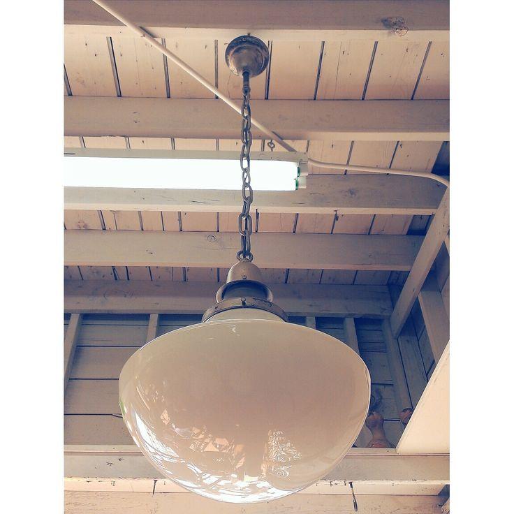 Old Hanging Light - From Schoolhouse ~ #hanginglight #vintagelighting #white #homedecor #interiordesign *JoJo's Place www.jojosplace.com