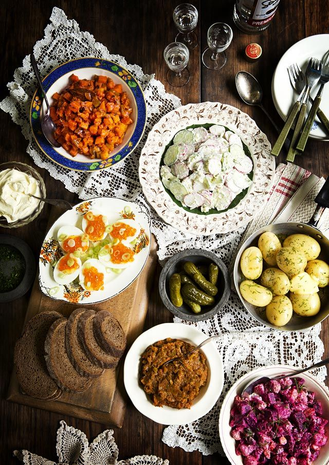 A Tale of Russian Zakuski, The Eastern European Appetiser Table: Spiced Carrot Salad, Cucumber & Radish Salad with Dill Sour Cream Dressing, Hard-Boiled Eggs with Salmon Roe & Green Onions, Boiled Baby Potatoes with Dill & Butter, Poor Man's Caviar and Beetroot & Butter Bean Salad
