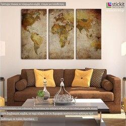 Παγκόσμιος χάρτης Vintage, τρίπτυχος πίνακας σε καμβά (multipanel)