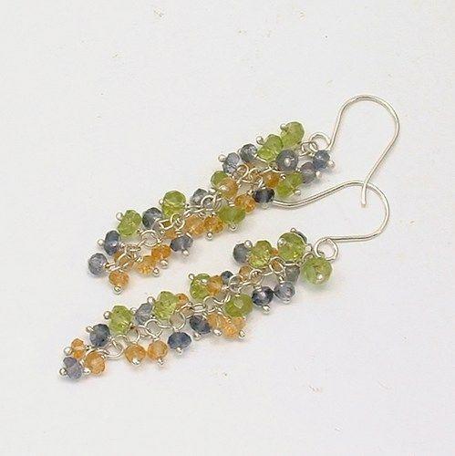 Green Peridot, Yellow Citrine, Blue Iolite Gemstone Cascade Sterling $66 by Healing Crystal Jewelry http://www.artfire.com/ext/shop/product_view/healingcrystaljewelry/5200978/green_peridot_yellow_citrine_blue_iolite_gemstone_cascade_sterling_/handmade/jewelry/earrings/gemstone