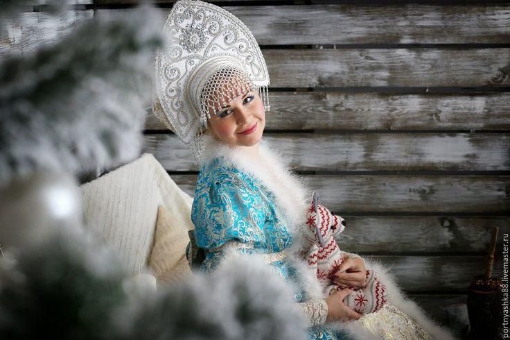 Купить Дед Мороз и Снегурочка - разноцветный, орнамент, Дед Мороз и Снегурочка, дедушка мороз