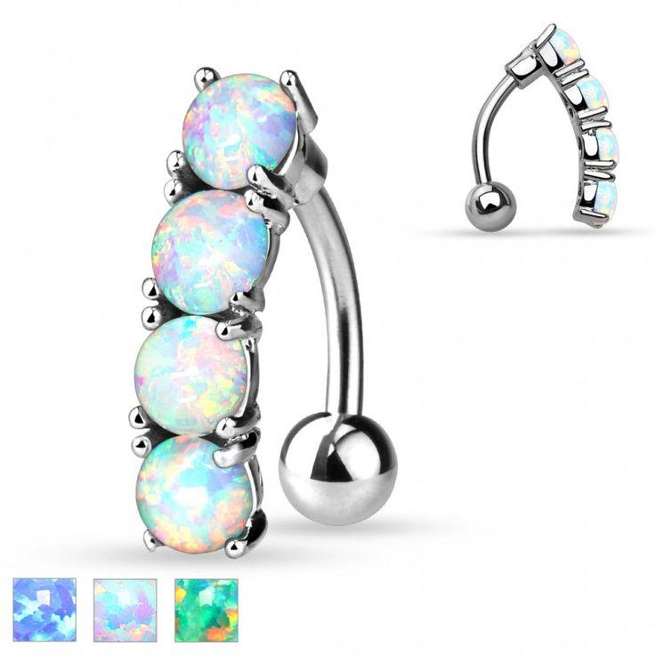 Piercing nombril Inversé 4 Gemmes opale