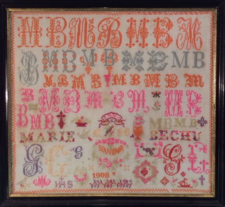 An Early 20th Century FRENCH Sampler Stitched By Marie BECHU & Dated 1908