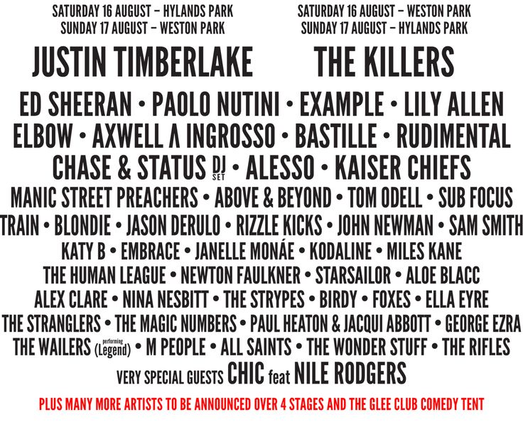 V Festival Line Up 2014.  Yes please!!!