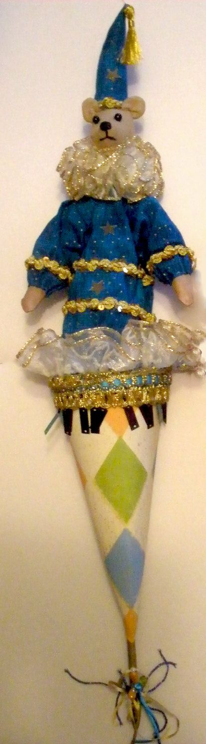 POPPINS- CONE PUPPETS, can be moved up and down (in and out of their cones) Each Poppin is signed by artist.  To decorate your home or as a beautiful, unique gift, there are 4 different puppets - the Elf, the Bear, the Cat and the Mouse to choose from- listed separately .  (I can make