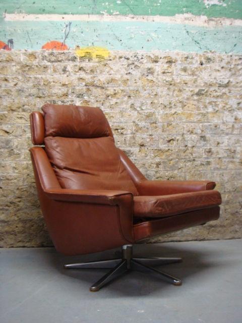 Adult Seating Area Vintage Danish Brown Tan Leather