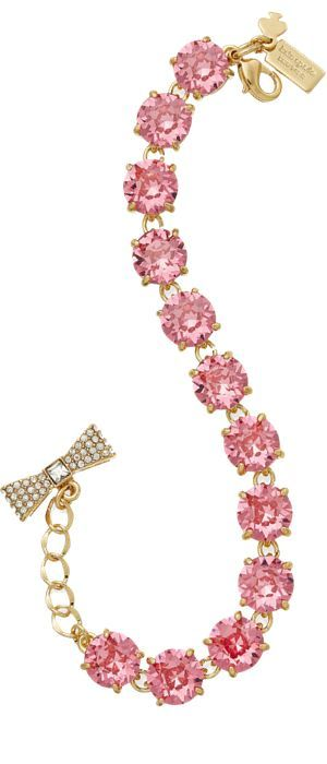 Pink ad gold crystal bracelet by Kate Spade. For more inbetweenie and plus size style ideas go to www.dressingup.co.nz