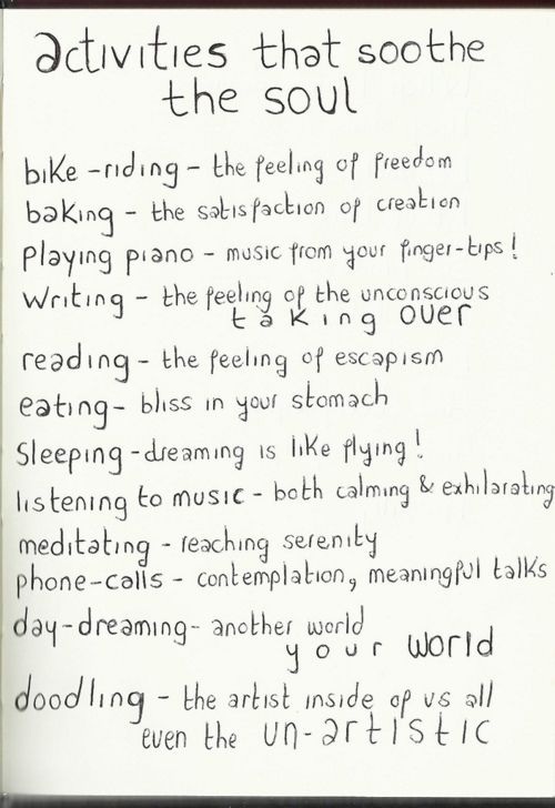 Activities that soothe the soul x