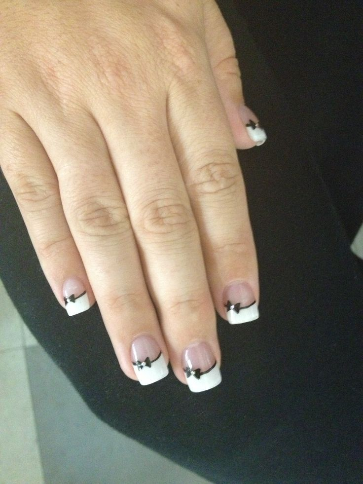 Bow Tie Design Nail Art French Tip Classy Look Possibly Wedding Nails