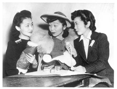 """Page 1 :: """"Loyal Americans All.  These Japanese-American girls, born and reared in this country, are doing what they can for this country's victory"""" -- caption on photograph :: Japanese American Relocation Digital Archive, 1941-1946. http://digitallibrary.usc.edu/cdm/ref/collection/p15799coll75/id/1398"""