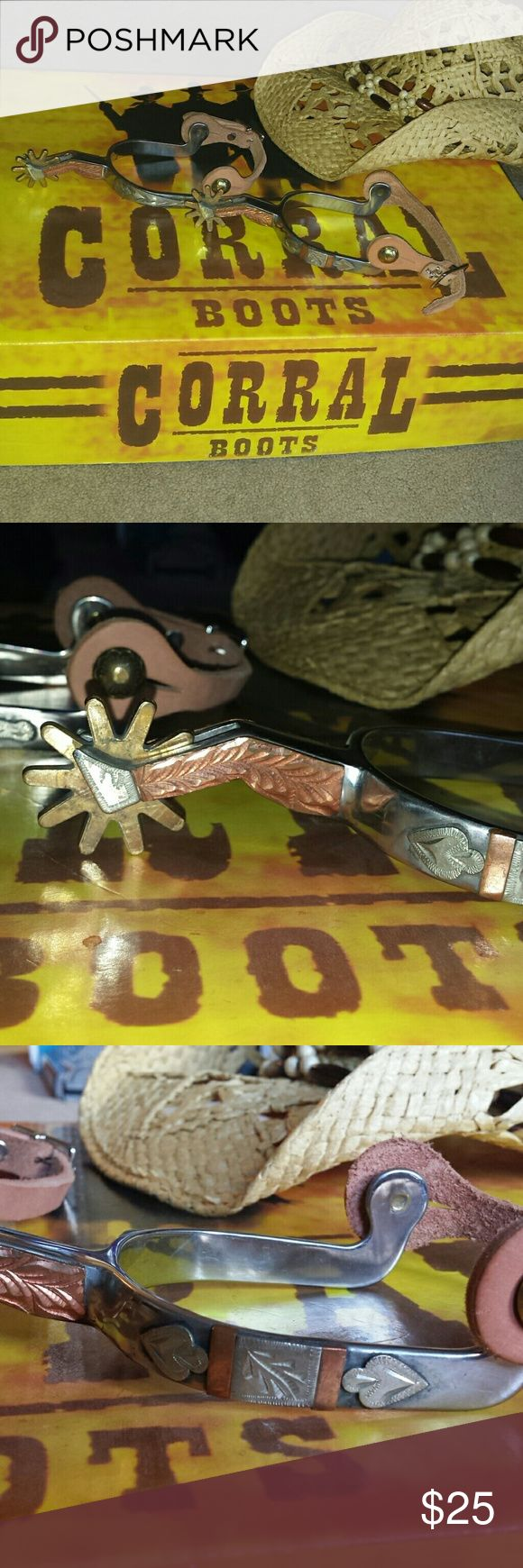 Cowboy boot spurs Western wear. Colorado Saddlery New never worn. Adjustable boot spurs for horseback riding. Western wear. The Yuma lady leg by the Colorado Saddlery Company. Colorado Saddlery Company Shoes