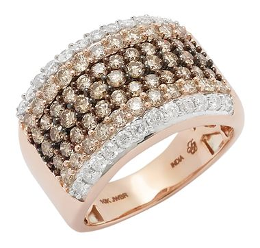 Tracey Bregman 10K Rose Gold Multi Row Diamond Cluster Ring