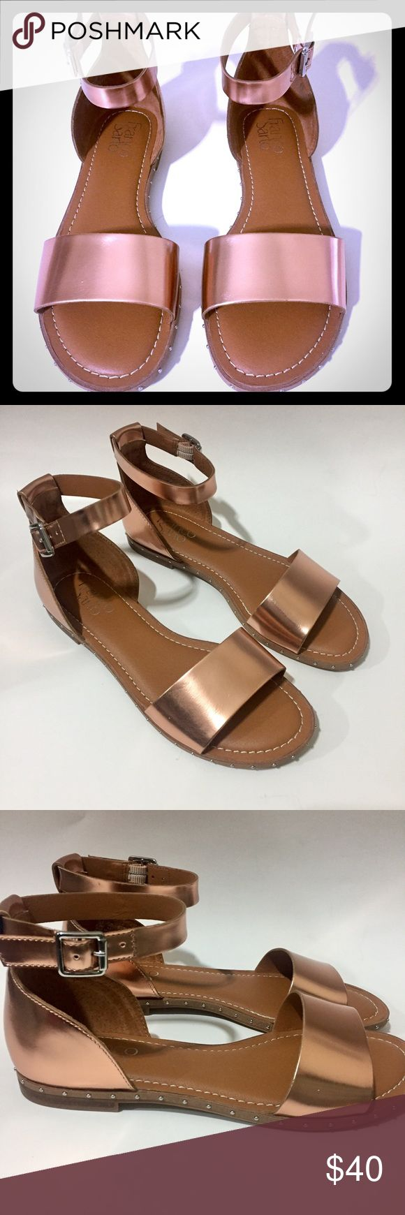 """Franco Sarto Rose Gold Venice Sandal Franco Sarto Rose Gold Venice Sandal are causal yet chic in a pretty ankle strap design with studding details for added shine. 1/4"""" heel Adjustable buckle closure at ankle strap Leather upper, leather sole Franco Sarto Shoes Sandals"""