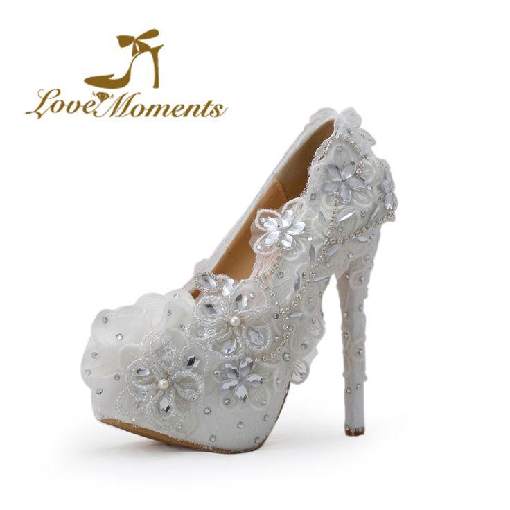 2018 Women Elegant Wedding Shoes Pearl Lace Flower Platform Rhinestone High-heeled Pump Bride Dress Shoes Plus Size 41 outlet sast cheap sale classic low cost sale online clearance online official site factory outlet cheap online 3PNW2TjY
