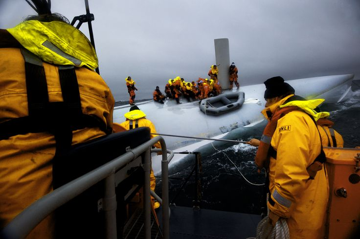 Baltimore lifeboat save 21 people from the upturned hull of a supermaxi yacht in the 2011 Rolex Fastnet Race. They were only found thanks to a faint light from a torch. ©Nigel Millard/RNLI