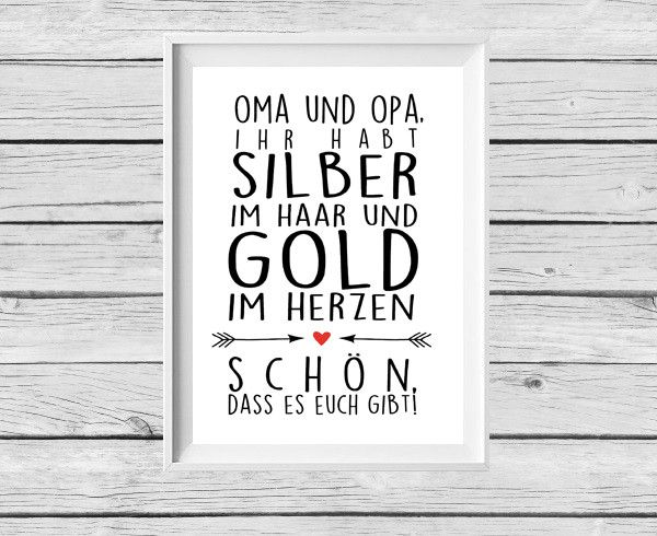 Digitaldruck - ★ Poster ★ Oma / Opa ★ Geschenk ★ - ein Designerstück von Kitsch-n-Story bei DaWanda