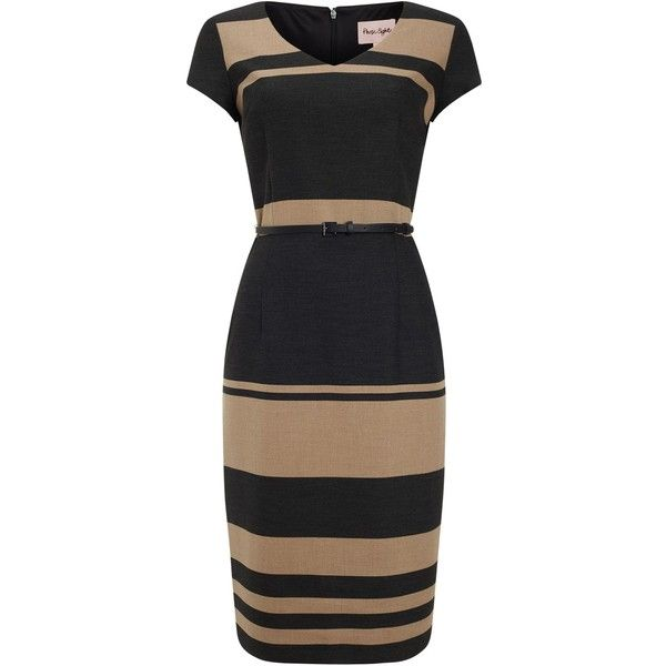 Phase Eight Lucy Stripe Dress, Black/Camel (€87) ❤ liked on Polyvore featuring dresses, striped midi dress, fitted maxi dress, short-sleeve maxi dresses, cotton maxi dress and striped maxi dress