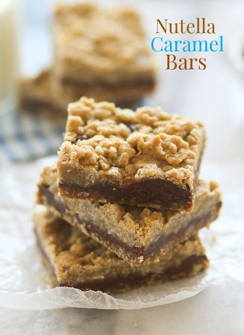 Nutella lovers will go crazy for these Nutella Caramel Bars! They are gooey, chocolatey, buttery, and delicious!