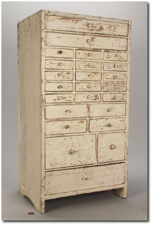 24 Drawers In Assorted Sizes, Having Nailed Construction; Top Drawer Is  Divided Into Sections. Perfect For A Jewelry Chest!