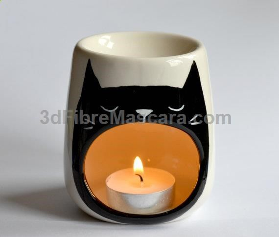 Cat Oil burner - Yawning Cat - Sleep Aid - Candle Holder - Porcelain - Tea Light - Night Light - Kitty - Cat Art - Wax Melt Burning - Cats #lingerie #gifts #forher #her #valentines #valentinesday #ladies #female #outfit #morning #ideas #dressingup #erotic #valentinegift