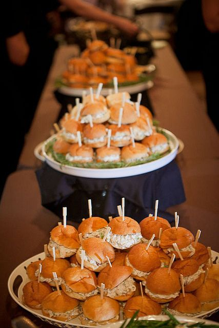 This seems pretty simple--cost effective...  Wedding food inspiration, chicken salad on rolls - #CupcakeDreamWedding