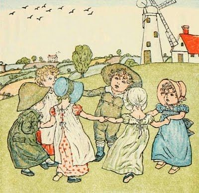 """Ring Around the Rosie"" -- child's chant believed to be early rhyme about the ""Black Death"" (pocket full of posie referred to herbs or bouquets carried to deter spread of plague; a tishoo referred to sneeze -- a plague symptom; and we all fall down -- obviously a reference to death)"