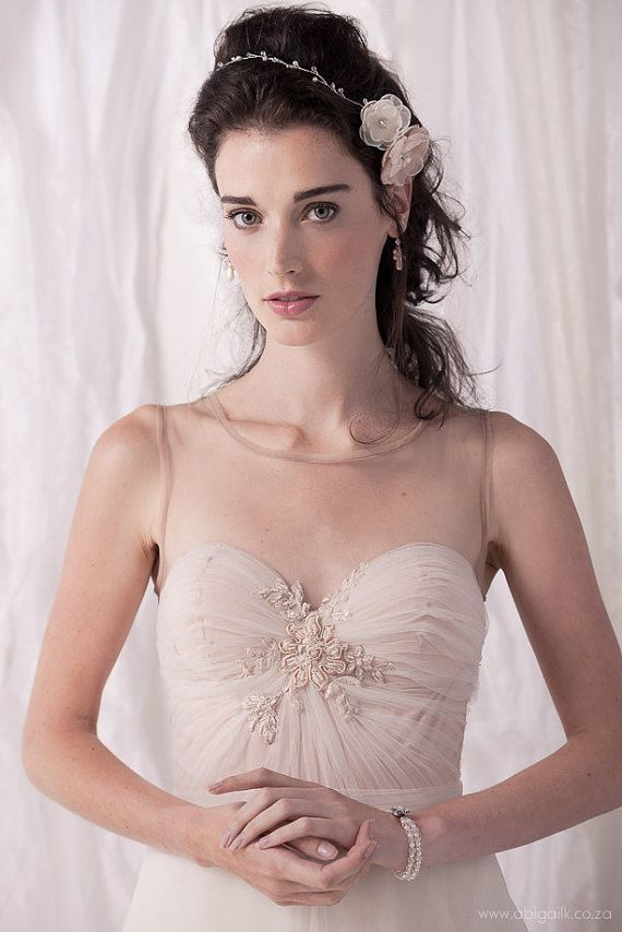 Pretty illusion neckline wedding dress/ soft by MoltenoCreations