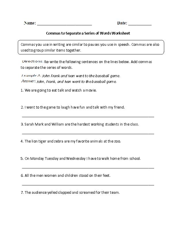 Commas to Separate a Series of Words Worksheet | Englishlinx com