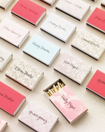 Matchboxes for place cards, then everyone has a light for the sparklers!