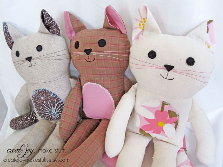 Cat Doll Sewing Pattern & Tutorial - PDF printable - kitty, girl, boy, cloth, fabric, simple, easy, softie, stuffed, sew, soft, toy. $9.00, via Etsy.