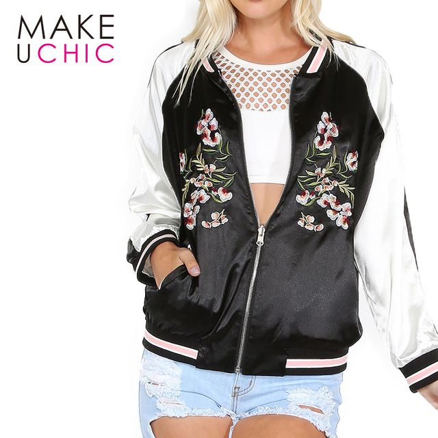 Discounted $20.25, Buy MAKEUCHIC Apparel Color Block Women Jacket Coat Casual Floral Embroidery Loose Female Bomber Jacket Streetwear Tops For Ladies