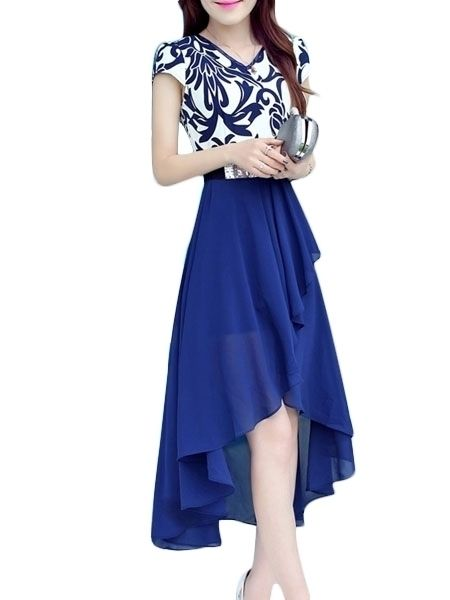 Buy V Neck Chiffon Floral Printed Patchwork Maxi-dress online with cheap prices and discover fashion Maxi Dresses at Fashionmia.com.
