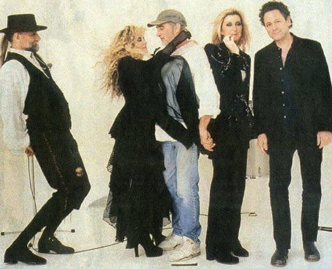 Stevie  ~ ☆♥❤♥☆ ~   dressed in all her finery, hugging John, and Mick being his silly self while Christine McVie and Lindz are just there; photo taken from Fleetwood Mac's 1997 album 'The Dance'  ~  https://en.wikipedia.org/wiki/The_Dance_(Fleetwood_Mac_album)