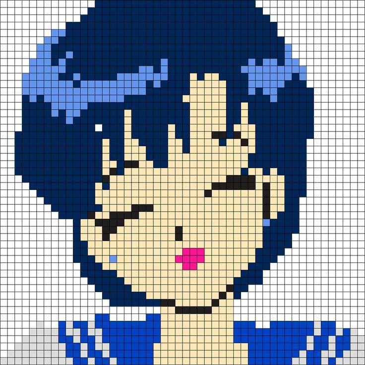 Sailor Mercury Perler Bead Pattern / Bead Sprite