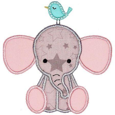 Elephant and Bird Applique - Planet Applique Inc