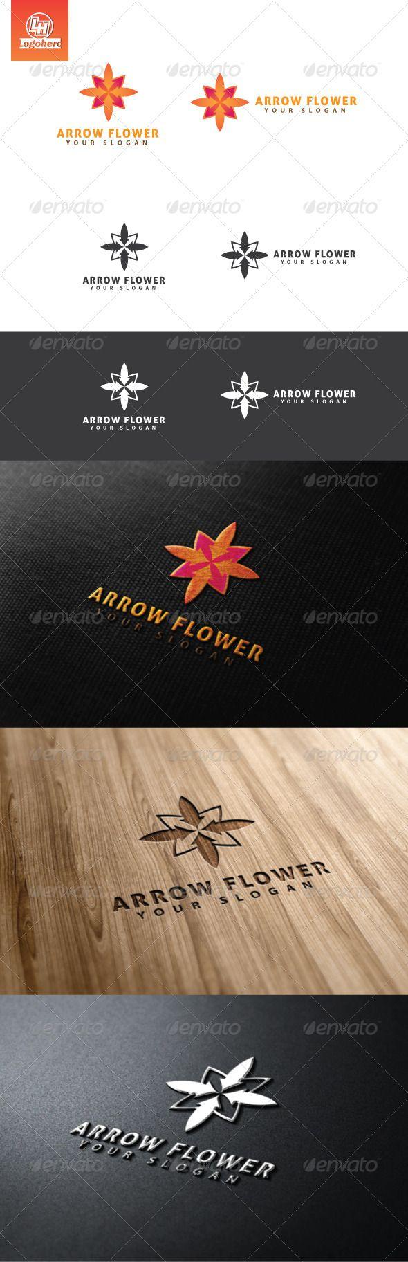 Arrow Flower Logo Template Vector FormatLetter LogoOffice