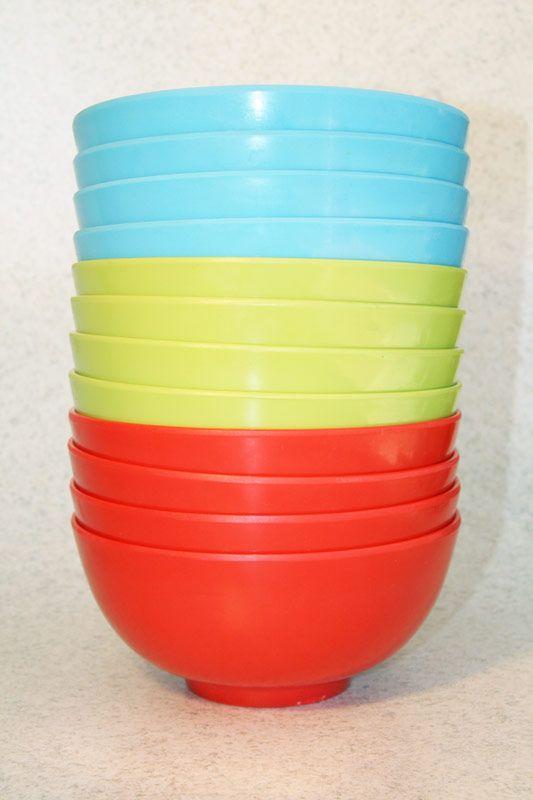 Plastic/Melamine round bowl, 3 colours (4 pack), Assistive Style $10