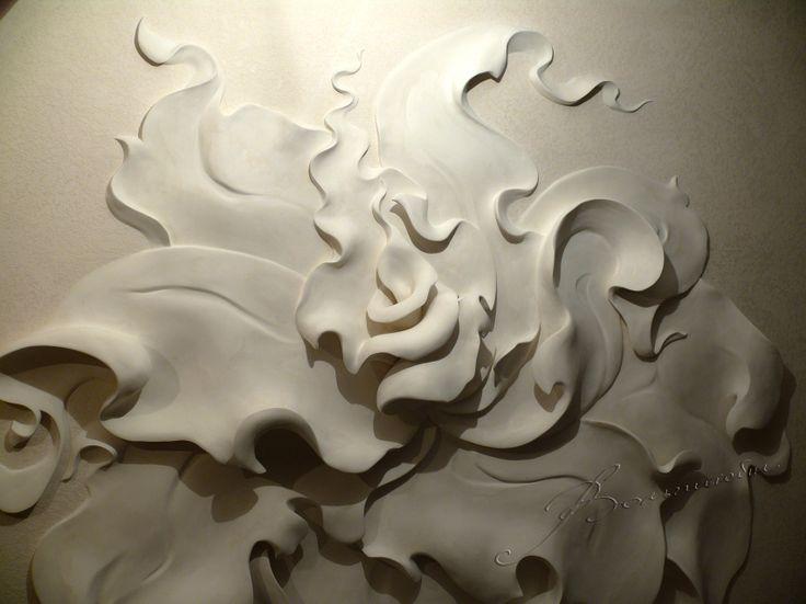 Bas flower on the decorative plaster olga volgshteyn for Plaster wall art