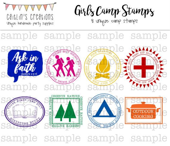 **All stamps that include the year now say 2017.** This listing is for custom LDS Girls Camp certification digital stamps that you can use with my Young Womens passports found here: https://www.etsy.com/listing/491883442/lds-personal-progress-or-girls-camp?ref=shop_home_active_1 Youll receive 8 different stamp images: the mutual theme Ask in Faith, outdoor cooking, first aid, scripture study, hiking, fire starting, emergency shelter, & observe nature. Col...