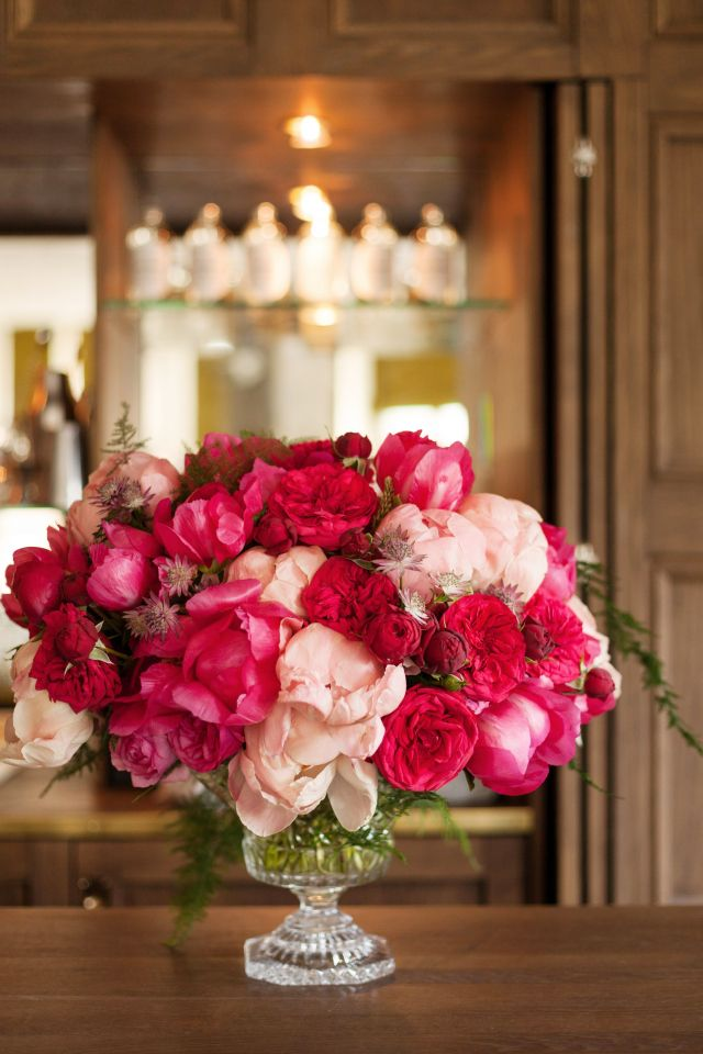 hot pink & coral peonies, dark & light pink garden roses