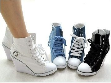 Women Canvas Wedge High Heels High Top Sneakers Boots Tennis Shoes Blue US 7.5 £42