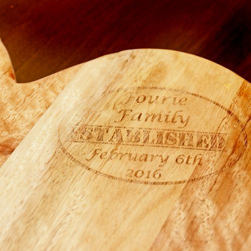 Personalised Saligna wood heart shaped chopping board