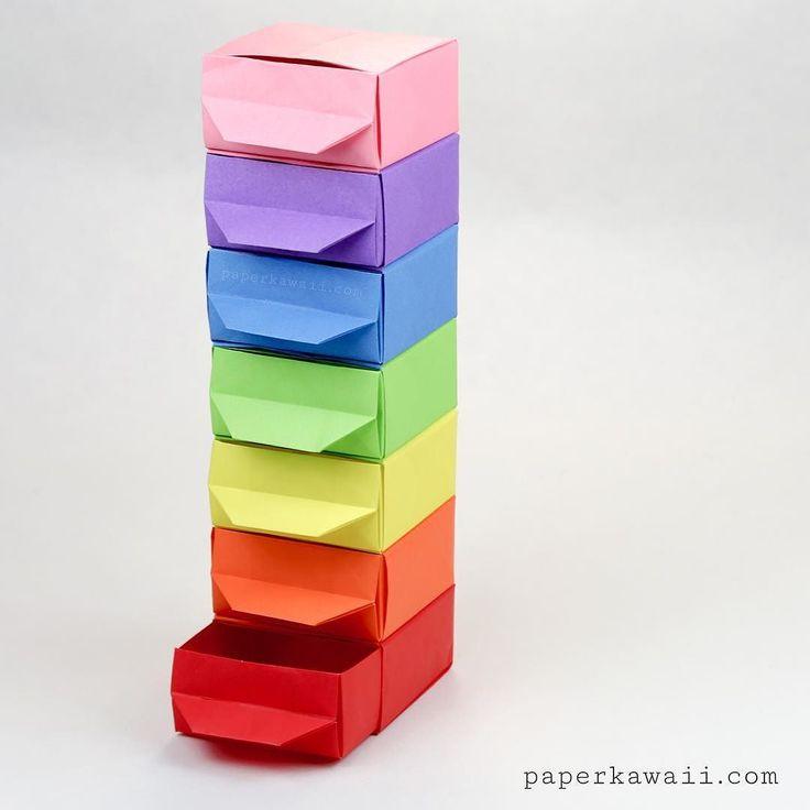 Rainbow origami drawers  tutorial: https://youtu.be/-UR0K2Y_O9Q design…