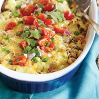 Carnitas Casserole Verde made with #ThatGreenSauce, beans, corn and shredded cheeses #TexFest