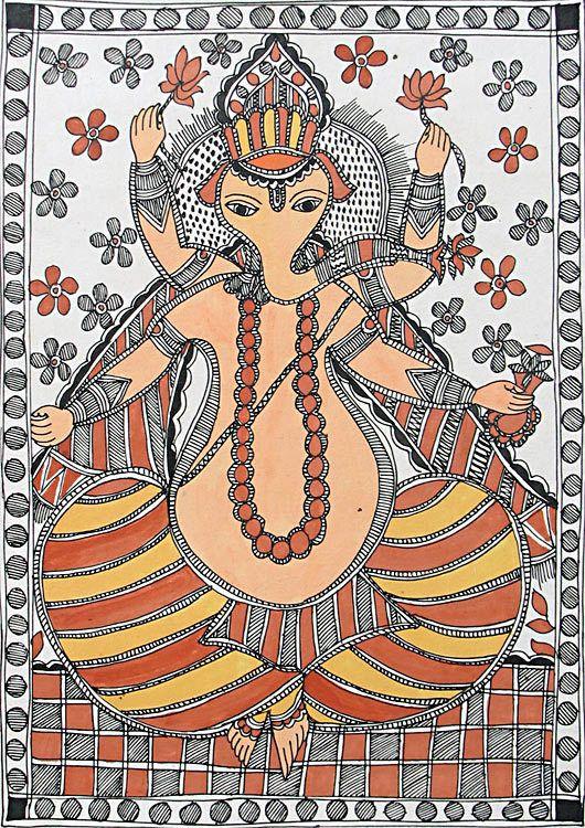 Madhubani Folk Art Painting of Ganesh