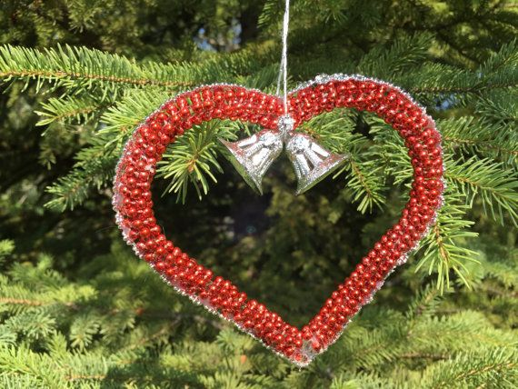 Red Handmade Christmas Ornament-Red and by UniqueWeddinCreation